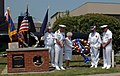 US Navy 060526-N-4014G-153 A wreath is presented to the crew of the fast-attack submarine USS Norfolk (SSN 714) in remembrance of USS Thresher (SSN 593) and USS Scorpion (SSN 589), two submarines during World War II (WWII).jpg