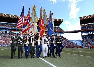 Aloha Stadium - A joint service color guard parades the colors at mid-field during the 2007 Pro Bowl game