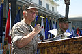 US Navy 070524-M-1341G-005 Cmdr. Jeff Saville, a Navy chaplain with Marine Aircraft Group (MAG) 30, gives the invocation at Master Sgt. Howard B. Macaulay's retirement ceremony at the 1st Marine Division Headquarters building.jpg