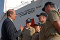 US Navy 070606-N-6081J-041 Secretary of the Navy (SECNAV) the Honorable Donald C. Winter speaks with Capt. Bruce Boynton (second from right), commanding officer of the Medical Treatment Facility aboard the Military Sealift Comm.jpg