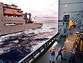 US Navy 090624-N-9689V-005 Civil Service Mariners receive cargo aboard the the Military Sealift Command dry cargo-ammunition ship USNS Richard E. Byrd (T-AKE 4) from the Military Sealift Command dry cargo-ammunition ship USNS A.jpg