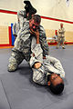 US Navy 090711-N-8861F-455 MA1 Michael Daniel, and PNSN Jamel Settles, practice combative techniques during training to deploy as individual agumentees.jpg