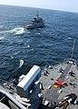 US Navy 100417-N-6138K-685 The Spanish navy Servola-class offshore patrol vessel SPS Centinela (P 72) maneuvers forward of the Whidbey Island-class amphibious dock landing ship USS Gunston Hall (LSD 44).jpg