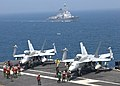 US Navy 100727-N-6984M-061 Sailors aboard the aircraft carrier USS George Washington (CVN 73) refuel F-A-18C Hornet strike fighters from the Dambusters of Strike Fighter Squadron (VFA) 195.jpg