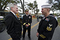 US Navy 110325-N-UH963-349 Secretary of the Navy (SECNAV) the Honorable Ray Mabus, left, and Rear Adm. Jonathan W. White speak with Utilitiesman 1s.jpg
