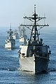 US Navy 111120-N-KM175-004 The guided-missile destroyer USS Stethem (DDG 63) leads a group of Indonesian navy ships in formation.jpg