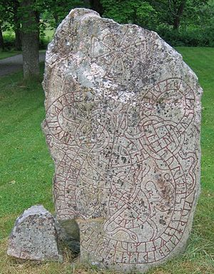 Lingsberg Runestones - The runestone U 241 with U 242 at its bottom left.