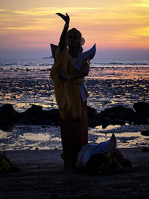 Malay folklore - A dancer performing the Ulek Mayang. Manifested in a dance and healing ceremony, it narrates a mystical tale about the sea spirits in a forbidden love with a fisherman.