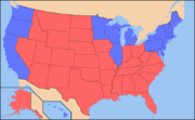 Map of results by state of the 2004 U.S. presidential election, representing states as either red or blue.