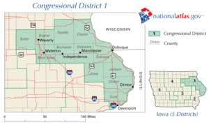 United States House of Representatives elections in Iowa, 2006 - Image: United States House of Representatives, Iowa District 1 map