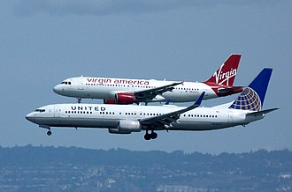 Airliner - The Boeing 737 (United, foreground) and the Airbus A320 (Virgin, background) are the most widespread airliners