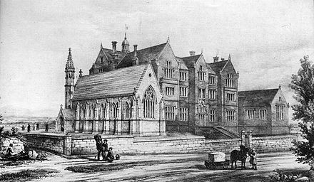 Ansicht des Chester Colleges um 1843