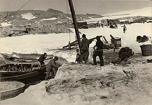 Cape Denison -  Unloading supplies at the cape.
