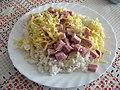 Uzené maso, strouhaný sýr, rýže.jpg