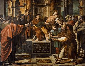 Sergius Paulus - Elymas the sorcerer is struck blind before Sergius Paulus.  Painting by Raphael from the Raphael Cartoons.