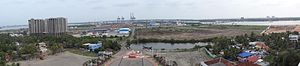 International Container Transshipment Terminal, Kochi - A panoramic view of Vallarpadam terminal from the top of Vallarpadam Church