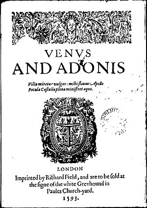 "Richard Field (printer) - Title page of the first quarto (1593) of Shakespeare's Venus and Adonis, printed by Richard Field, adorned with his emblem the Anchora Spei, ""anchor of hope."""