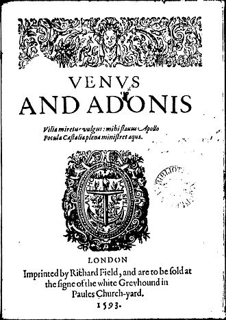 Venus and Adonis (Shakespeare poem) - Title page of the first quarto (1593)