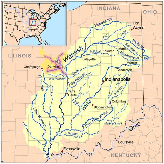 The water basin of the Wabash River; the other rivers (not including the Ohio River) are tributaries of the Wabash River. The Vermillion River (and its forks) is a highlighted example of a tributary of the Wabash River. The Wabash River is also a tributary of the Ohio River, which in turn is a tributary of the Mississippi river.
