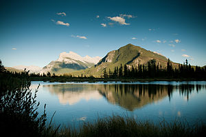 Vermilion Lakes - Mount Rundle and Sulphur Mountain reflected in the lakes