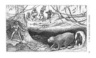 Vero man - Artist's conception of Pleistocene Vero man and cave bear Arctodus