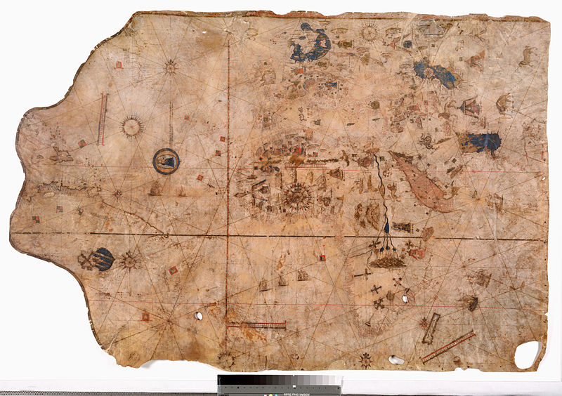File:Vesconte Maggiolo. World chart, from eastern coasts of America to India. PORTOLAN CHART. Naples, 1516.jpg