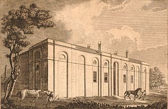 Royal Veterinary College - Veterinary College, London, the original building, 1804 engraving.