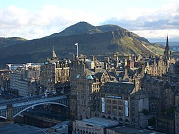 Top: Princes Street Left: St Mary's Cathedral Right: Edinburgh Castle Bottom: Edinburgh Financial District