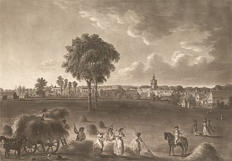 Church of St Mary the Virgin, Baldock -  A view of Baldock in 1787 showing St Mary's church
