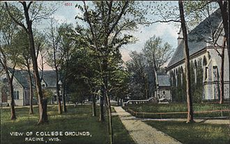 Racine College - View of the grounds of Racine College in 1910, facing west, toward the gymnasium. Chapel is on the right.