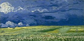 A picture of a vast open landscape field, dark blue sky over yellowish and green land.