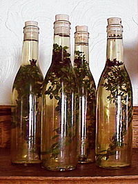 Vinegar is sometimes infused with spices or herbs—as here, with oregano.