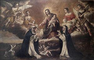 Lucas de Valdés - Lucas Valdés, Virgen del Rosario, Santo Domingo y Santa Catalina de Siena, c. 1700.
