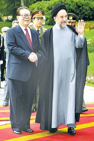 China–Iran relations -  April 20, 2002; Chinese President Jiang Zemin and Iranian President Mohammad Khatami, an official Visitation.