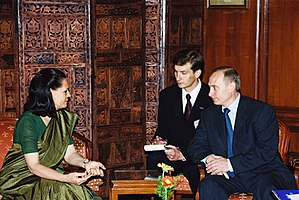 Sonia Gandhi - Sonia Gandhi as Leader of Opposition, meeting with the President of Russia Vladimir Putin during latter's State visit to India in October 2000.