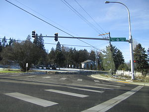 Washington State Route 96 - The eastern terminus of SR 96 south of Snohomish, viewed from SR9