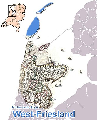 West Friesland (region) - The historical region of West Friesland, mixed map, old map overlaid on a modern geographic map