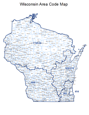 Area code 608 - Map of Wisconsin showing area codes