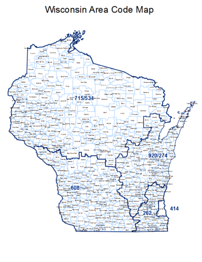 Map of Wisconsin showing area codes