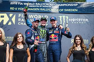 2016 World RX of Sweden - Event podium, with Sébastien Loeb in second and Hansen third