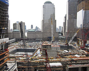 World Trade Center (2001–present) - Rebuilding progress in April 2011, looking west from the transportation hub's site