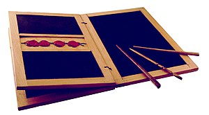 Wax tablet - Reproduction of a Roman-style wax tablet with three styluses or ''styli''
