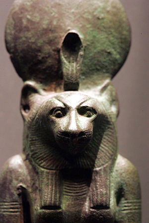 Bastet - Wadjet-Bast, with a lioness head, the solar disk, and the cobra that represents Wadjet