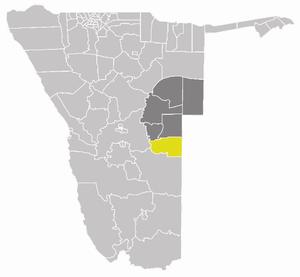 Aminuis Constituency - Aminuis Constituency (yellow) in the Omaheke Region (dark grey)