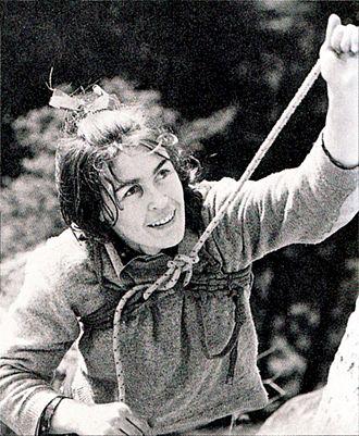 Wanda Rutkiewicz - Wanda Rutkiewicz climbing on Góry Sokole (Falcon Mountains) in 1968