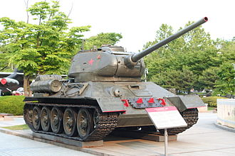 Tanks of North Korea - A T-34 tank of  North Korea. The T-34-85 was the major tank used by the Korean People's Army in the Korean War.
