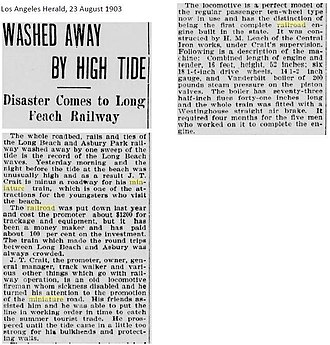 Long Beach and Asbury Park Railway - Disaster Comes to Long Beach Railway (Los Angeles Herald, 23 August 1903)
