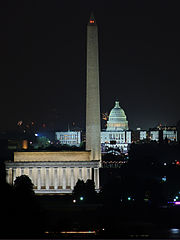 Night view of The Lincoln Memorial, Washington Monument and US Capitol, 2007