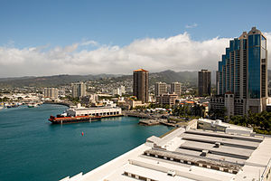 Downtown Honolulu - The Waterfront District of Honolulu with Harbor Court on the far right.