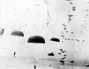 Waves of paratroops land in the Netherlands during Operation Market Garden in September 1944.